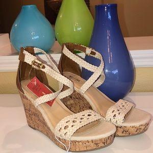 NWT! Beige Cork Wedge Sandals!